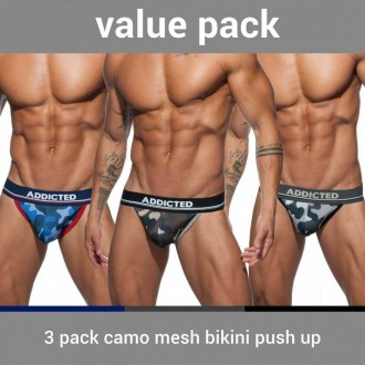 AD699P 3 PACK CAMO MESH BIKINI PUSH UP