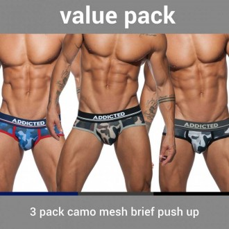 AD697P 3 PACK CAMO MESH BRIEF PUSH UP