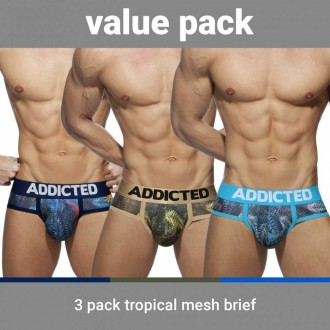 AD889P 3 PACK TROPICAL MESH BRIEF PUSH UP