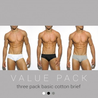 UN184P THREE PACK BASIC COTTON BRIEF