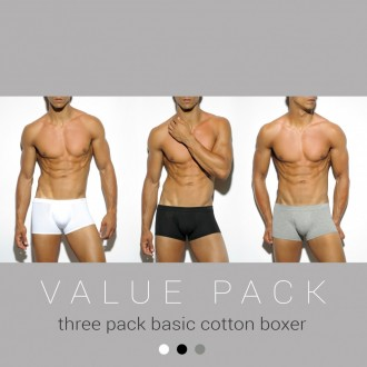 UN185P THREE PACK BASIC COTTON BOXER